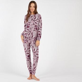 Paisley Print Long Sleeves T-shirt and Full Length Pyjama Set