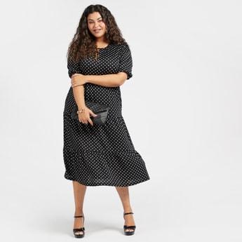 Polka Dot Print Midi Tiered Dress with Short Sleeves