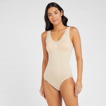 Textured Sleeveless Shaping Bodysuit with V-neck