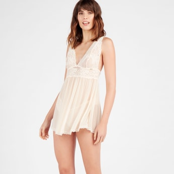 Lace Detail Babydoll with Halter Neck and Racerback Strap