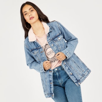 Denim Jacket with Pockets and Detachable Fur Overlay