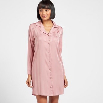 Striped Long Sleeves Sleepshirt with Collar and Patch Pocket
