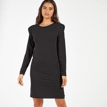 Solid Shift Knee Length Dress with Power Shoulder and Long Sleeves