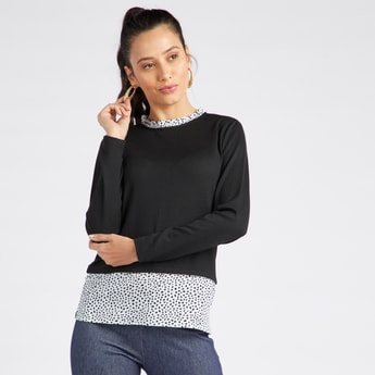 Printed Twofer Top with Round Neck and Long Sleeves