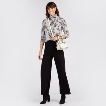Floral Print Turtle Neck Top with 3/4 Sleeves