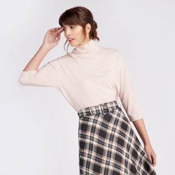 Solid Turtle Neck Top with 3/4 Sleeves