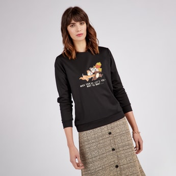 Chip and Dale Print Sweat Top with Long Sleeves