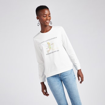 Graphic Print Sweatshirt with Long Sleeves and Round Neck