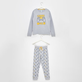 Game Over Print Long Sleeves T-shirt and Pyjama Set