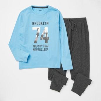 Graphic Print Long Sleeves T-shirt and Full Length Pyjama Set