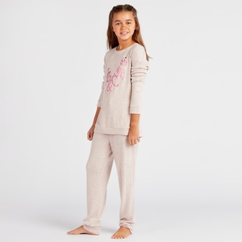 Cozy Collection Printed Round Neck T-shirt and Full Length Pyjama Set