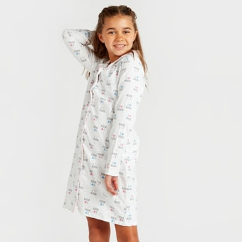 Cozy Collection Printed Sleepshirt with Collared Neck and Long Sleeves