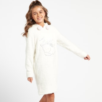 Cozy Collection Textured Sleep Dress with Cat Embroidery and Hood