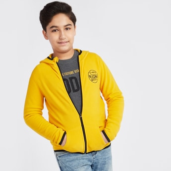 Textured Hooded Jacket with Long Sleeves