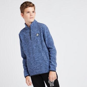 Melange Print High Neck Fleece Jacket with Long Sleeves and Zip Closure