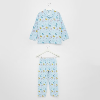 Printed Collared Shirt and Pyjama Set