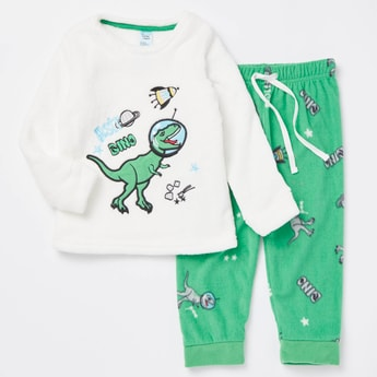 Cozy Collection Dino Print T-shirt and Full Length Pyjama Set