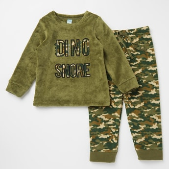 Cozy Collection Camouflage Print Round Neck T-shirt and Joggers Set
