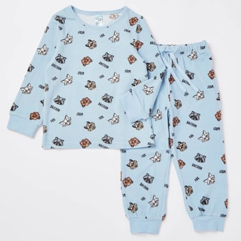 Cozy Collection Racoon Print T-shirt and Full Length Pyjama Set