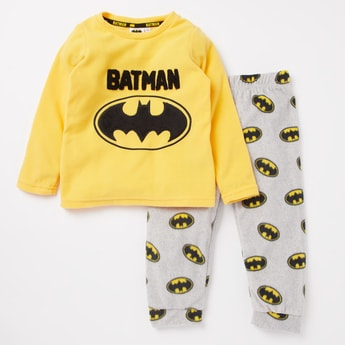 Batman Print T-shirt and Full Length Pyjama Set