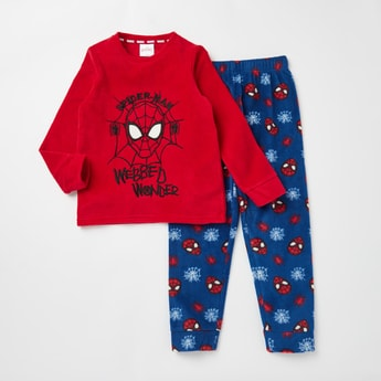 Cozy Collection Spider-Man Print T-shirt and Full Length Pyjama Set