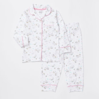 All-Over Unicorn Print Long Sleeves Sleepshirt and Pyjama Set