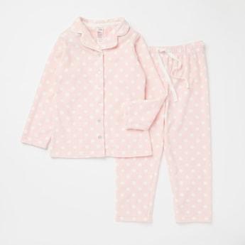 Polka Dot Print Long Sleeves Sleepshirt and Full Length Pyjama Set