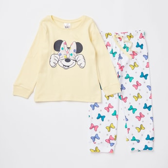 Minnie Mouse Print Long Sleeves T-shirt and Full Length Pyjama Set