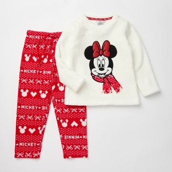 Cozy Collection Mickey & Minnie Mouse Print Top and Pyjama Set