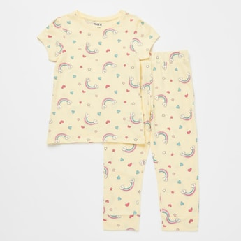 All-Over Rainbow Print Round Neck T-shirt and Pyjama Pants