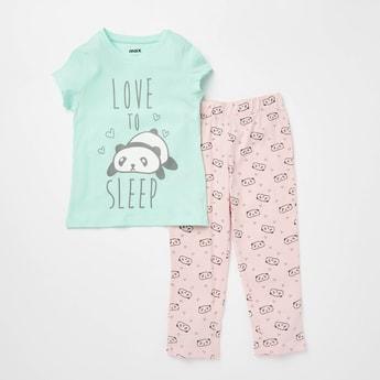 Panda Print Round Neck T-shirt and Pyjama Set