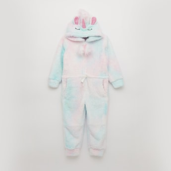 Textured Full Length Unicorn Sleepsuit with Long Sleeves