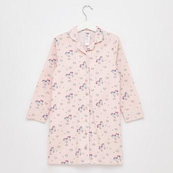 Printed Sleep Shirt with Collar and Long Sleeves