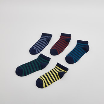 Set of 5 - Striped Ankle Length Socks with Ribbed Hem
