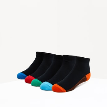 Set of 5 - Textured Ankle Length Socks with Ribbed Hem