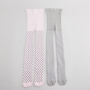 Set of 2 - Heart Printed Tights