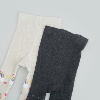 جوارب ضيقة بحزام مطاطي وطبعات- طقم من زوجين