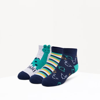 Set of 3 - Printed Ankle Length Socks