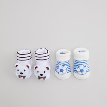 Set of 2 - Striped Infant Socks with Appliques