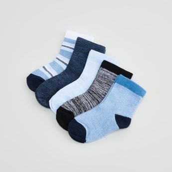 جوارب متنوعة بطول ربلة الساق بحوّاف مضلّعة - طقم من 5 أزواج
