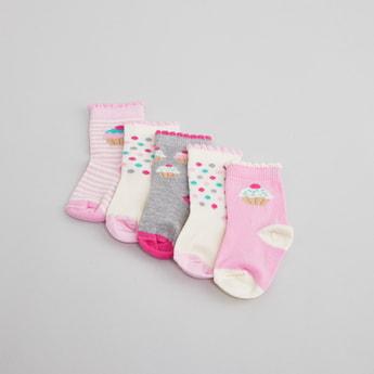 Set of 5 -  Printed Socks with Ribbed Hem