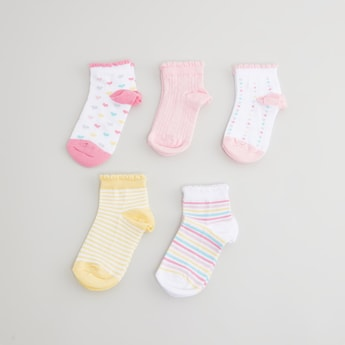 Set of 5 Printed Ankle Length Socks