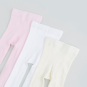 Set of 3 - Plain Tights with Elasticated Waistband