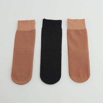 Set of 3 - Textured Quarter Length Socks