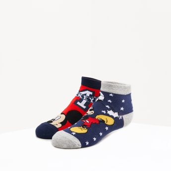 Set of 2 - Mickey Mouse Printed Ankle Length Socks