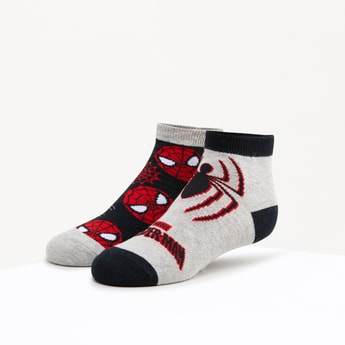 Set of 2 - Spiderman Printed Ankle Length Socks