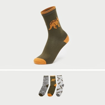 Pack of 3 - Printed Crew Length Socks with Ribbed Hem