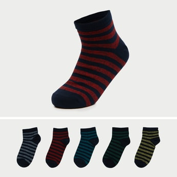 Pack of 5 - Striped Crew Length Socks with Cuffed Hem