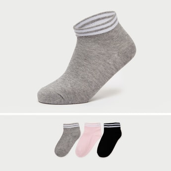 Pack of 3 - Stripe Detail Ankle Length Socks with Cuffed Hem