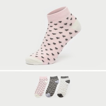 Pack of 3 - All-Over Print Ankle Length Socks with Cuffed Hem